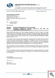 Отзыв от малазийской компании KNM Process System Sdn. Bhd. об азотной компрессорной модульной станции ТГА-3,33/10 Э99 и воздушной компрессорной станции ТГА-8,34/8 Э